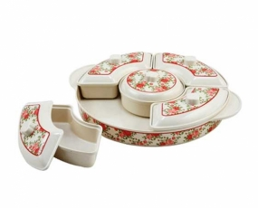 """1 p 14"""" Tray, 1 pc 6"""" Center Bowl with Cover, 4 pcs 9.5 Curve Bowl with Cover"""