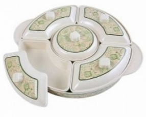 """1 p 17"""" Tray, 1 pc 8.5"""" Center Bowl with Cover, 4 pcs 11.5 Curve Bowl with Cover"""