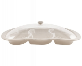 """20"""", 6 Compartment Platter Clear Cover"""