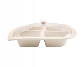 """13"""", 4 Compartement Platter with Clear Cover"""