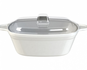 "7"" Quatro Casserole Bowl with Clear Cover"